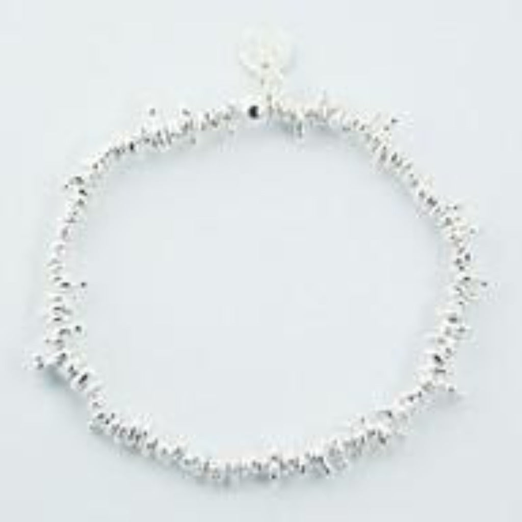 Sterling Silver Mixed Shape Beaded Stretch Bracelet