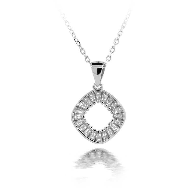 Sterling Silver Stone Diamond Necklace