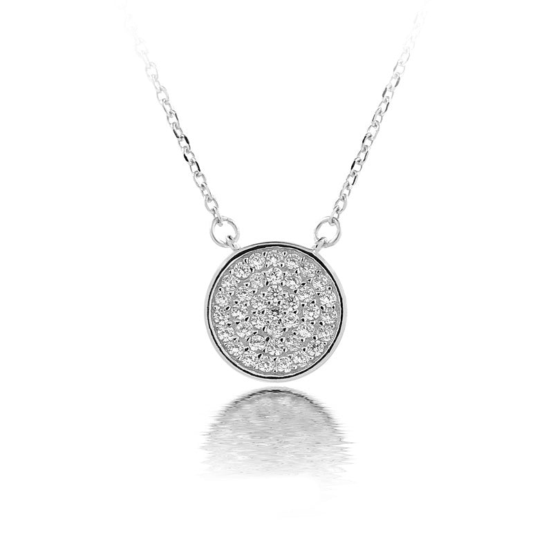 Sterling Silver Cubic Zirconia Circle Necklace
