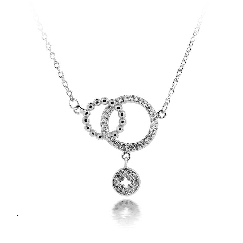 Sterling Silver Two Circle CZ Drop Necklace