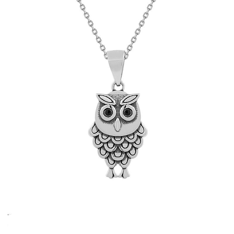 Sterling Silver Oxidized Owl Necklace