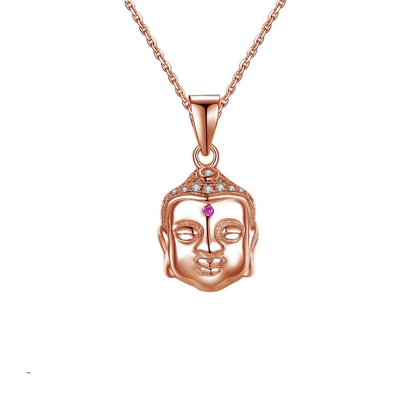 Sterling Silver Rose Gold Buddha Necklace