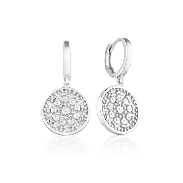 Sterling Silver Patterned Circle Drop Earrings