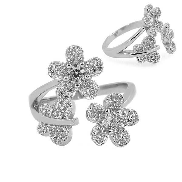 Sterling Silver Glitzy Flower Ring