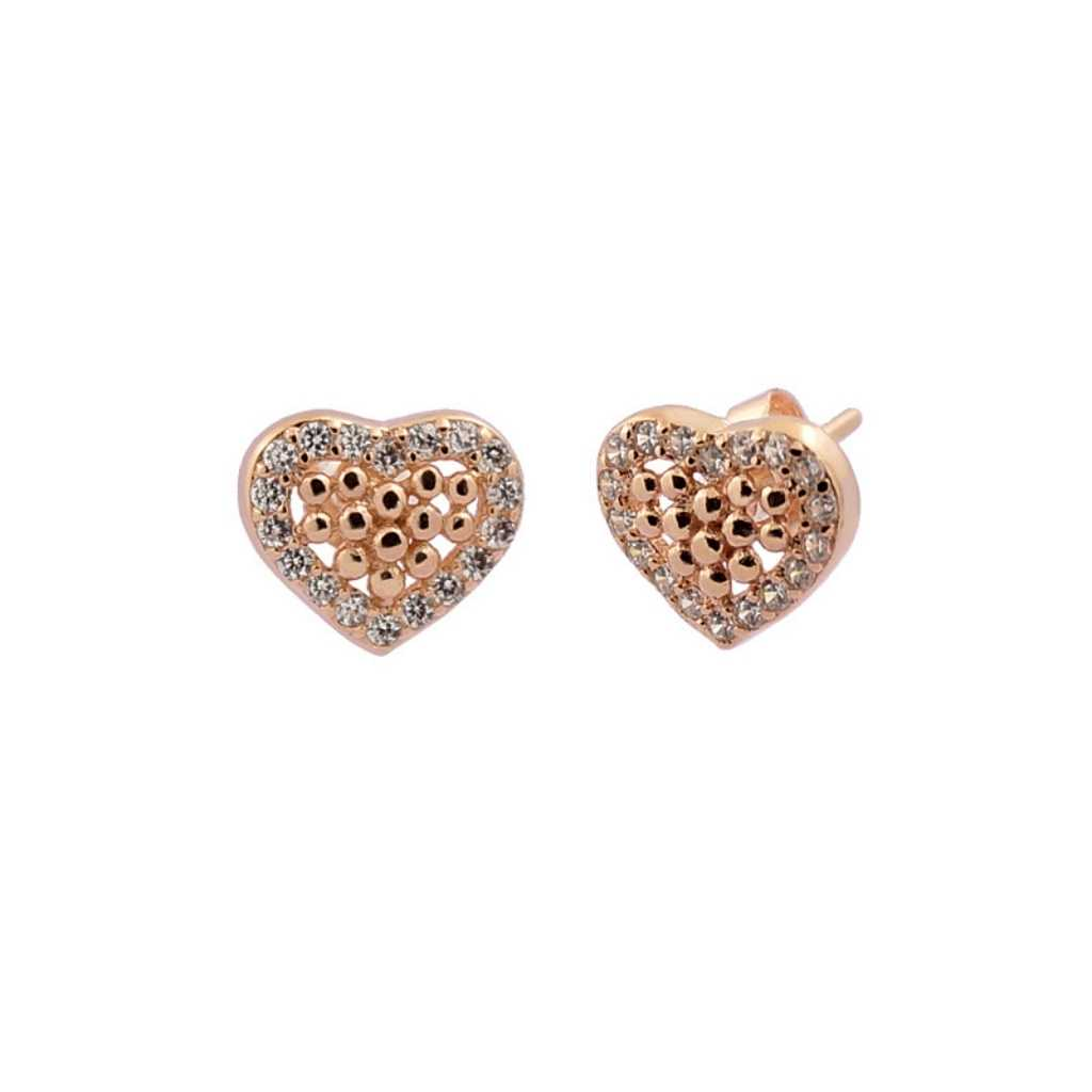 Rose Gold Love Heart Studs in centre tiny balls.