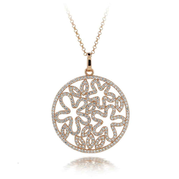 Rose Gold Large Circle Necklace with flower shapes inside.