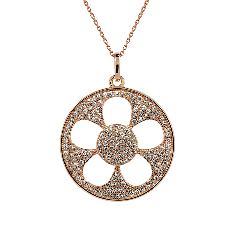 Sterling Silver Rose Gold Diamante Flower Necklace
