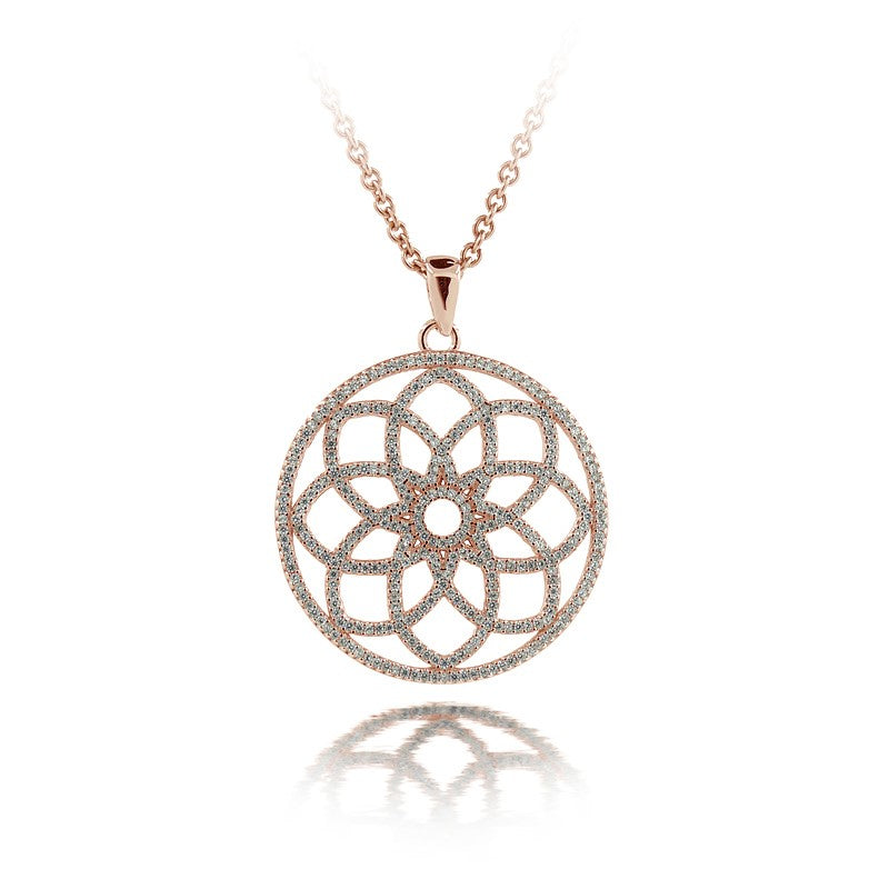Sterling Silver Rose Gold Floral Openwork Necklace