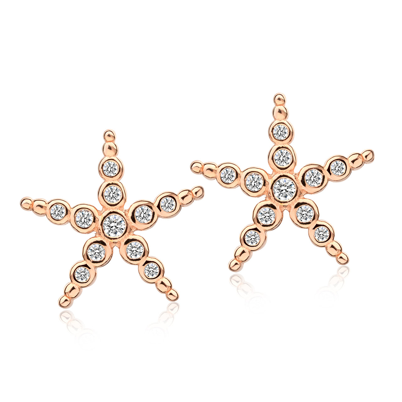 Sterling Silver Rose Gold Star Studs