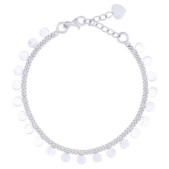 Sterling Silver Shiny Disc Bracelet