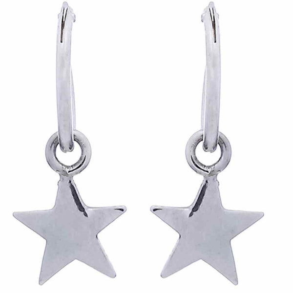 High polished silver star huggie hoops.