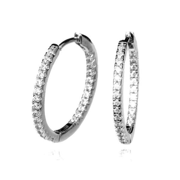 Hoop Earrings encrusted with CZ stones inside and hoop and outside.