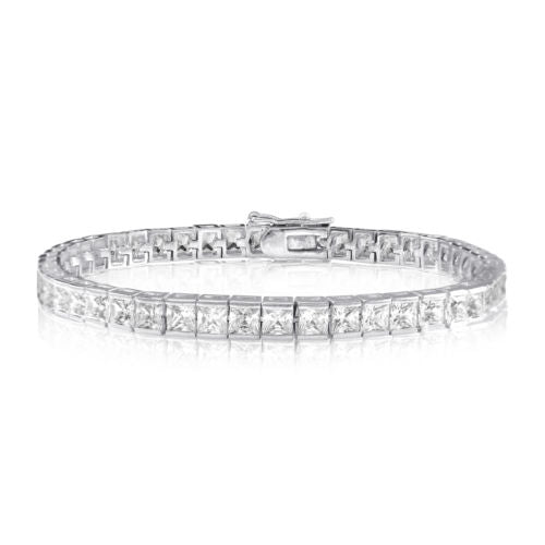 Sterling Silver Diamante Square Bracelet