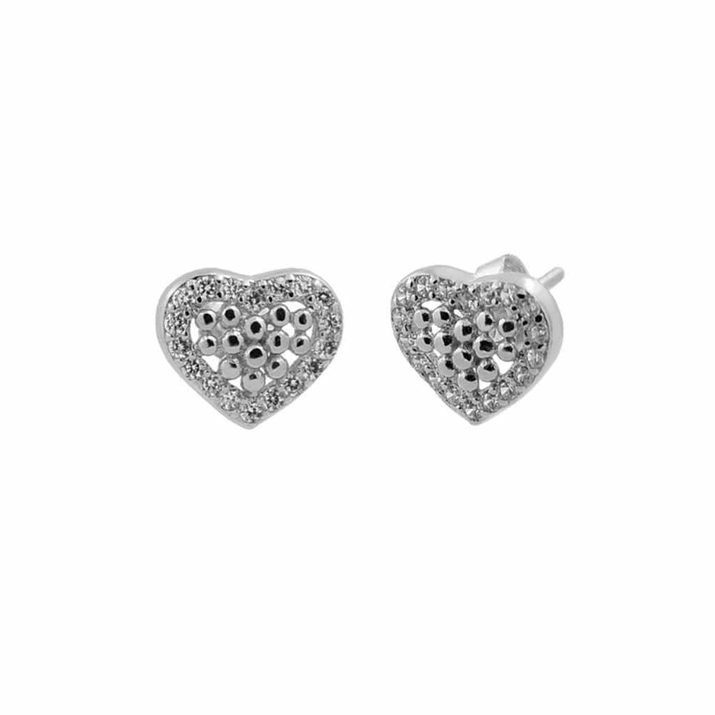 Sterling Silver Earrings Shape of Love Heart Tiny Balls in Centre.