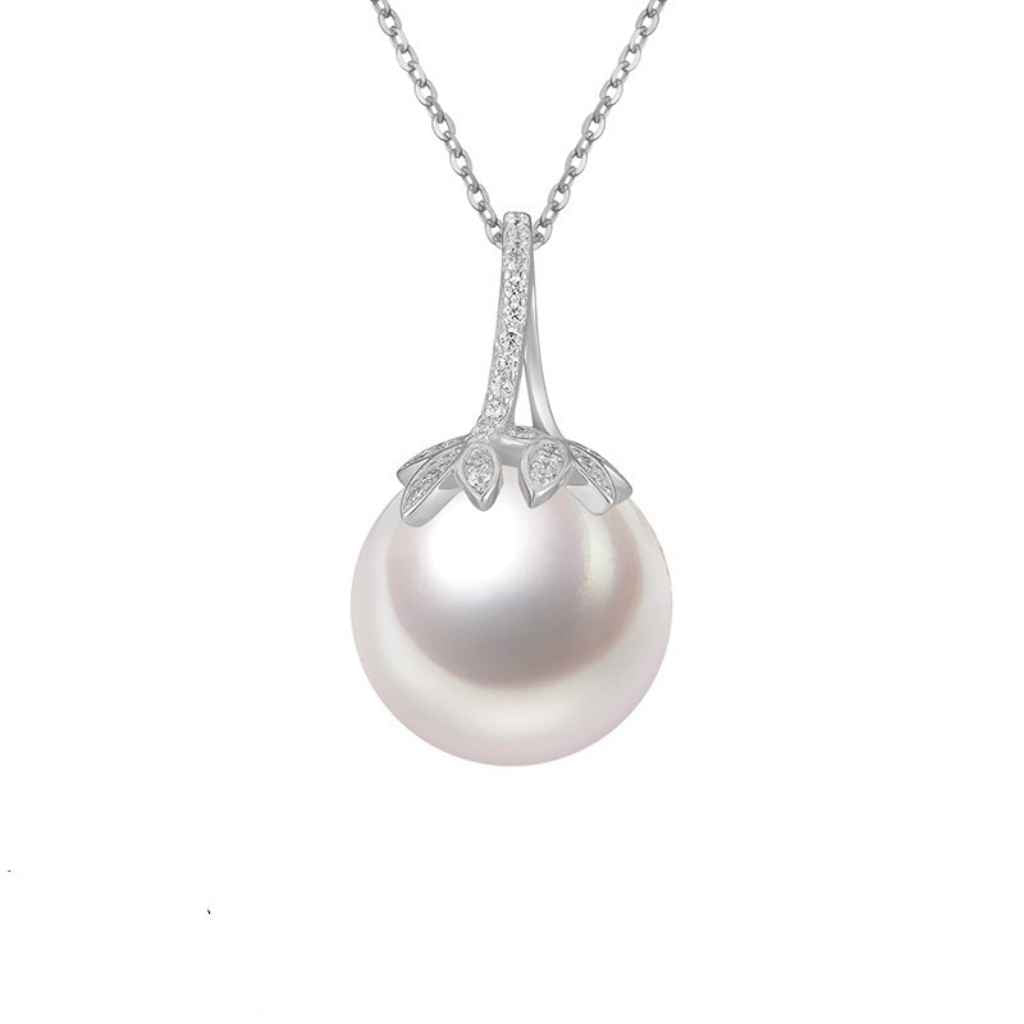 Sterling Silver Pearl Necklace Top of the Pearl is encrusted with leaf shaper CZ Stones