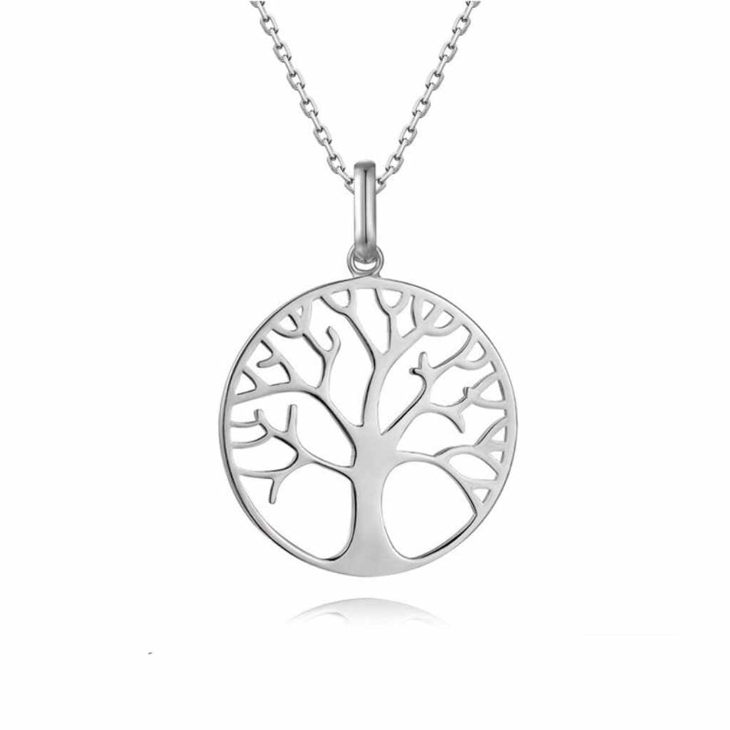 Sterling Silver High Polished Circle Necklace inside a tree with branches.
