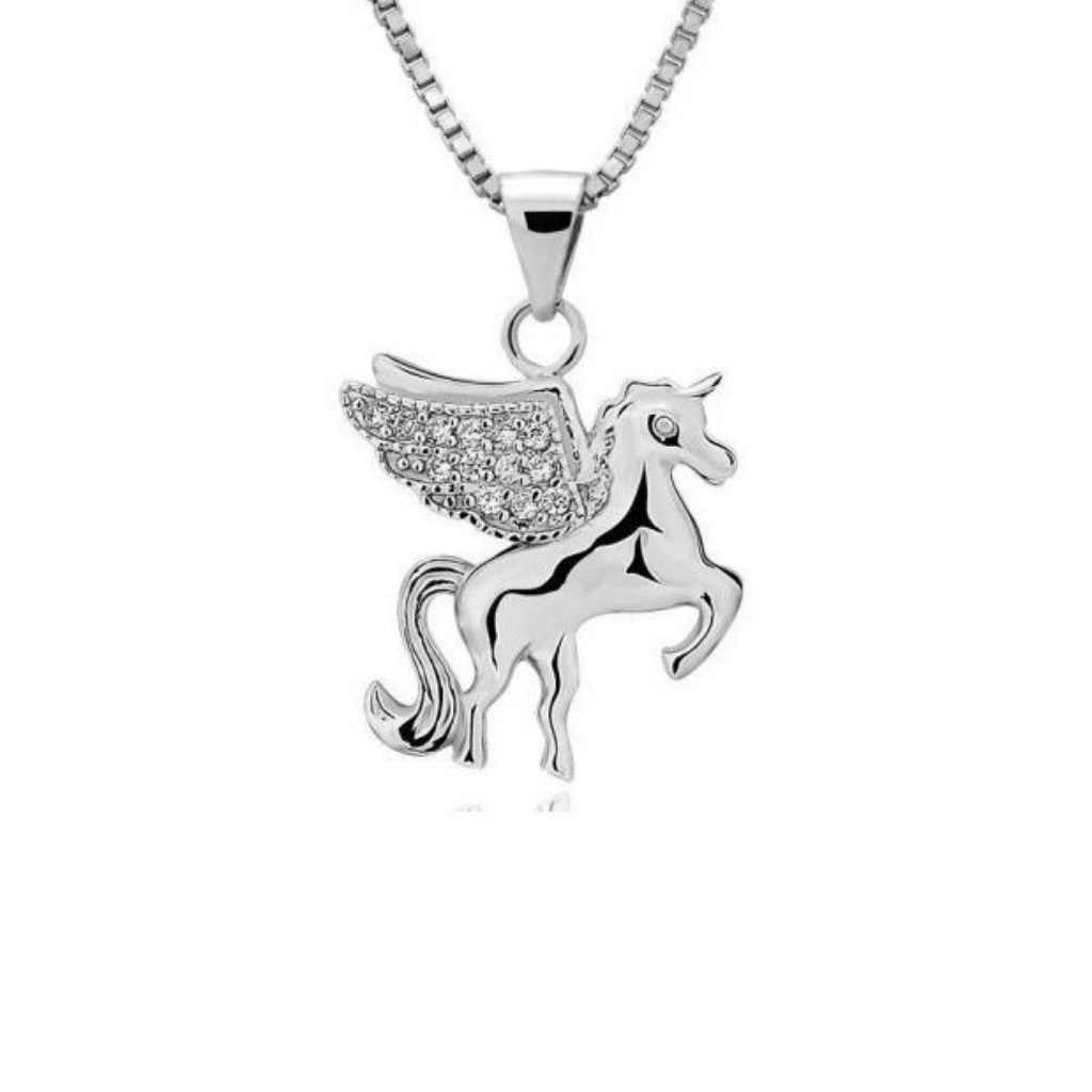 Sterling Silver High Polished Unicorn with CZ wings necklace