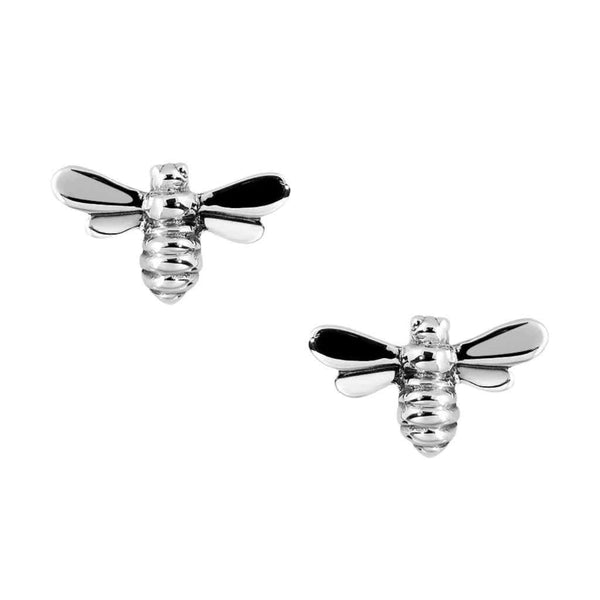 Three dimensional bee earrings high polished finish.