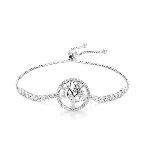 Circle with tree of life inside encrusted with CZ stones in an adjustable bracelet.
