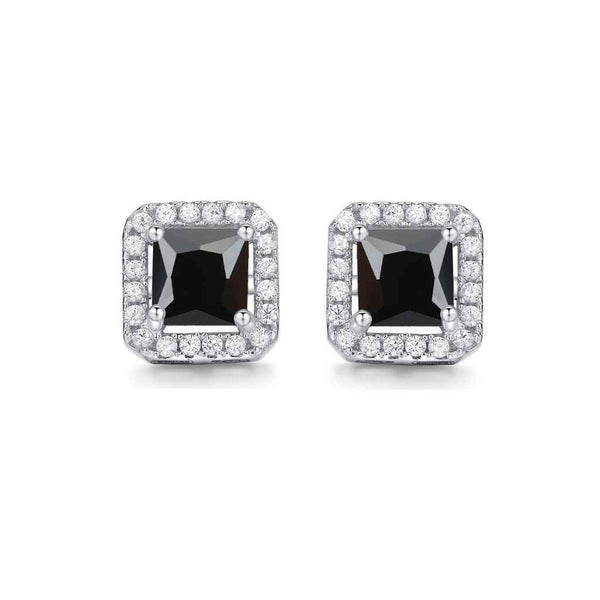 Black CZ square stones surrounded by tiny white stones.