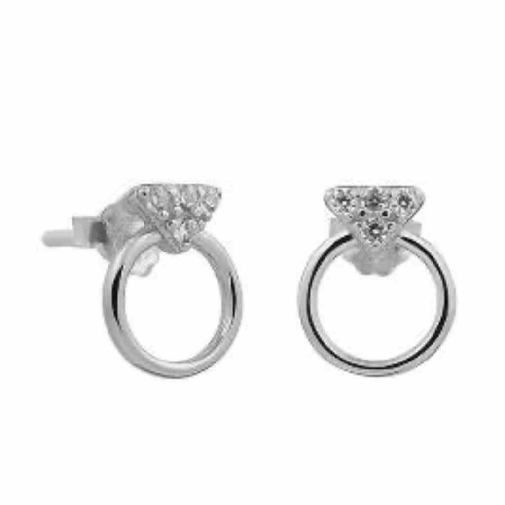 Cute circle stud earrings with small triangle encrusted Cubic zirconia stones.