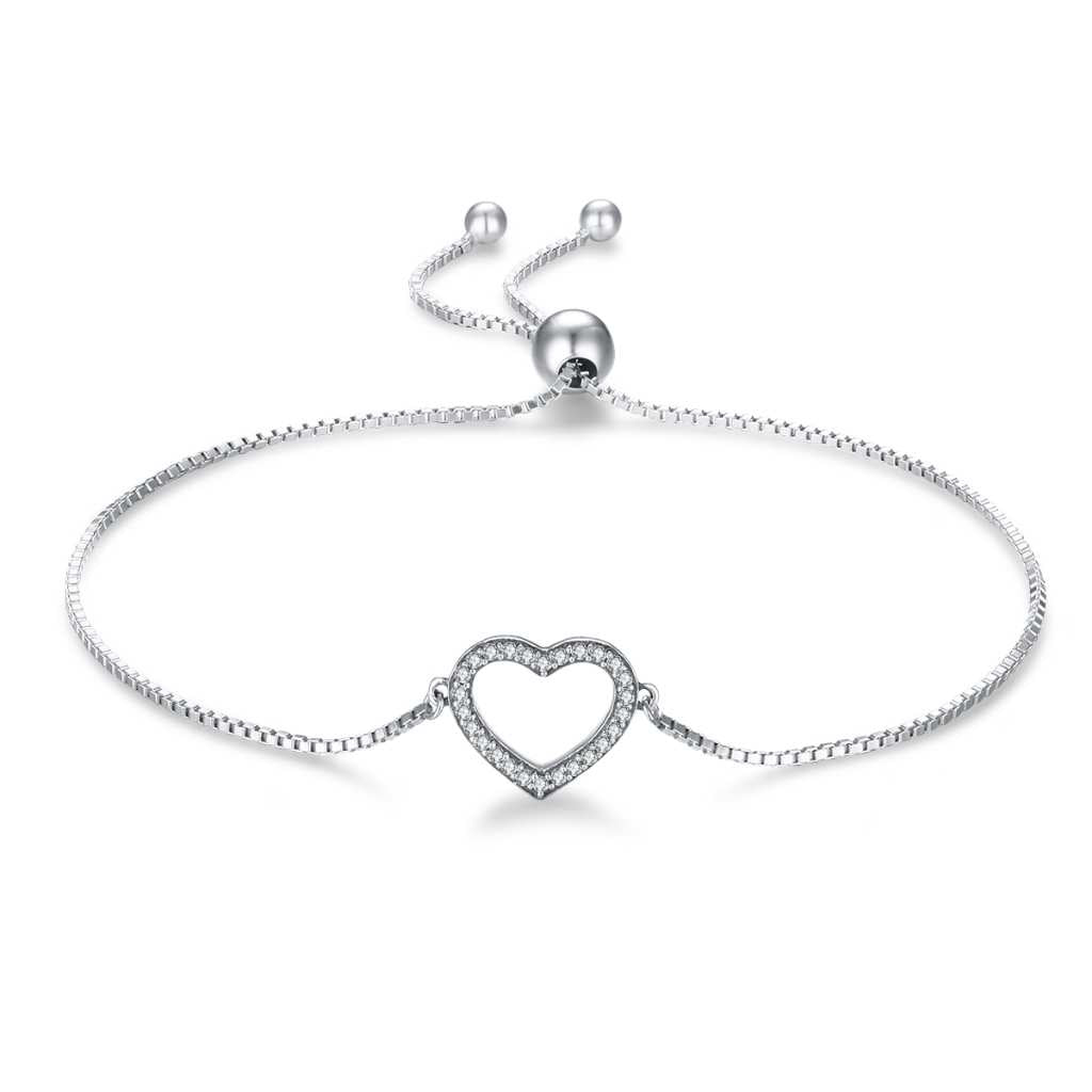 Love heart encrusted with CZ stones adjustable bracelet.