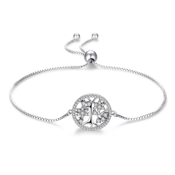 Circle tree of life encrusted with CZ adjustable bracelet.