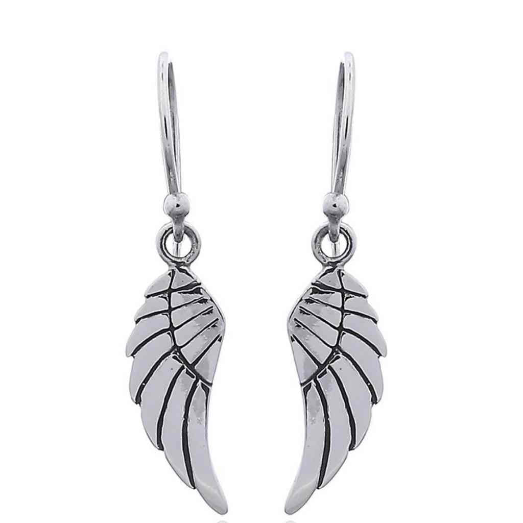 Angel wing Earrings with intricate detail.