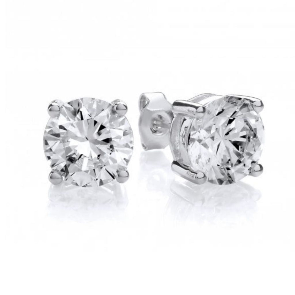 Sterling Silver Solitaire Stud Earrings Brilliant Shine.