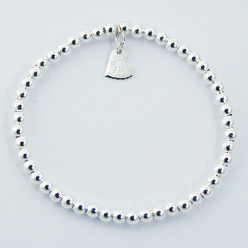 Sterling Silver Beaded Flat Heart Stretch Bracelet