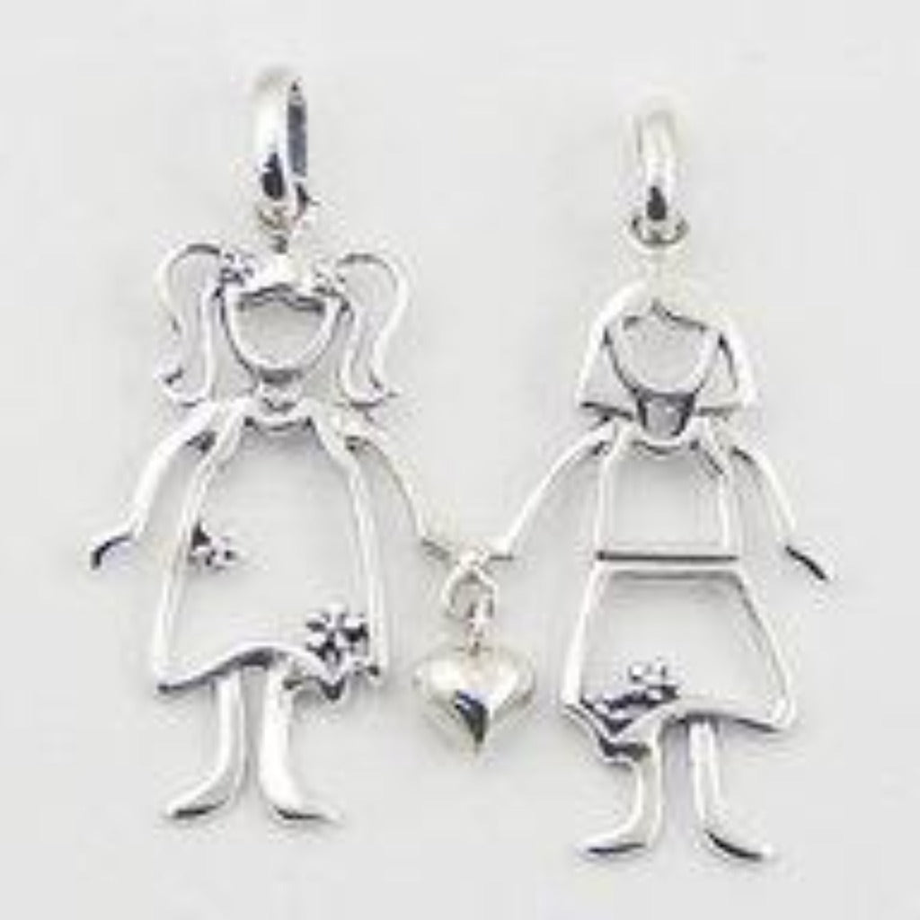 Sterling Silver Two Girls Necklace