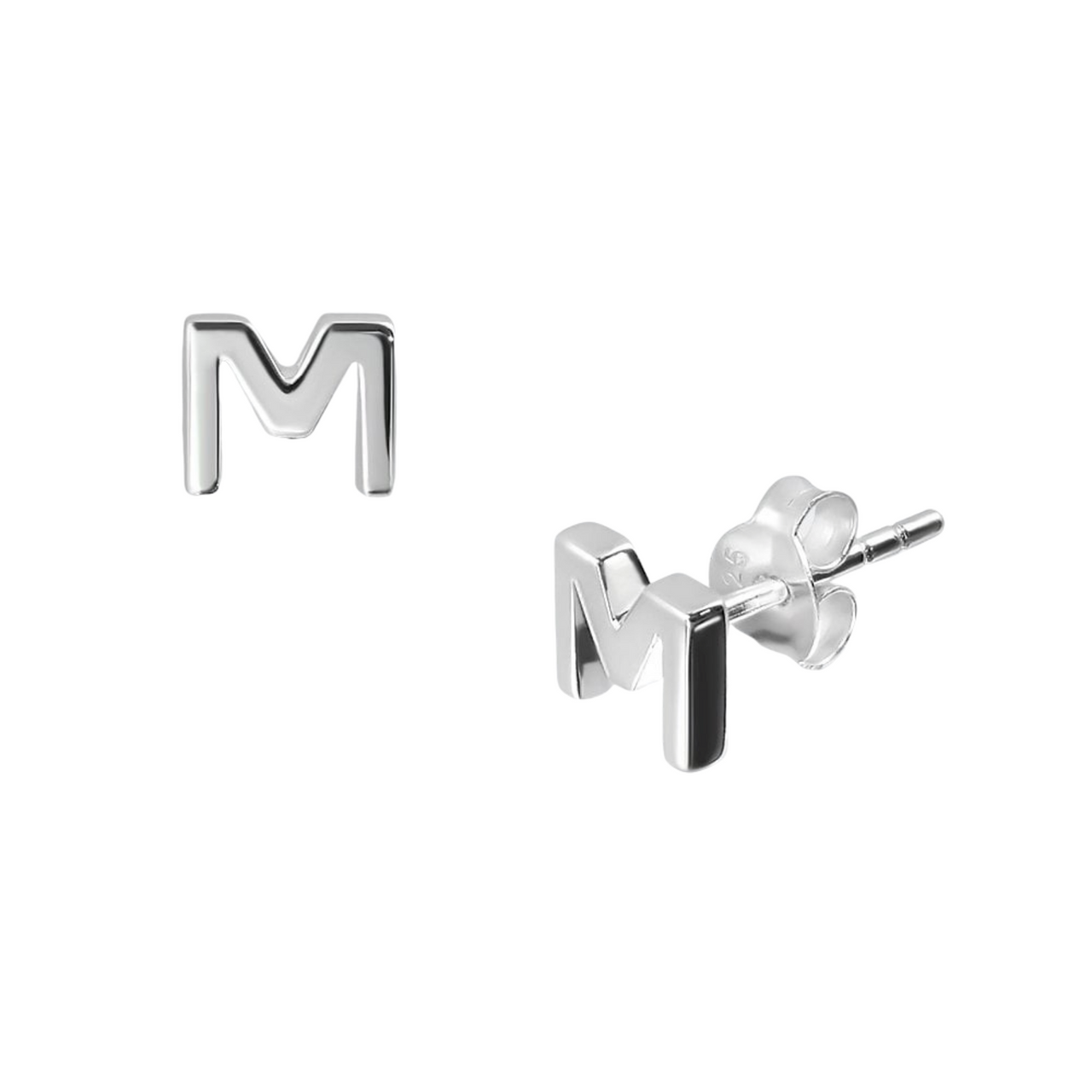Sterling Silver Letter M Studs