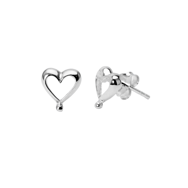 Sterling Silver Romantic Heart Studs