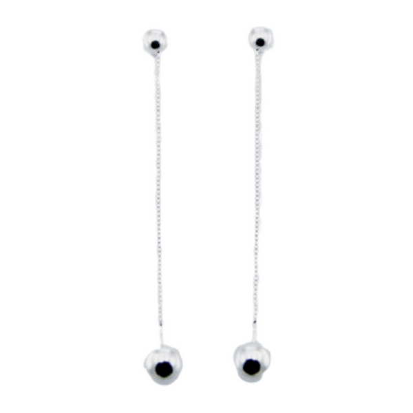 Sterling Silver Long Ball Drops