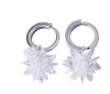 Sterling Silver 3D Flower Huggie Drop Earrings