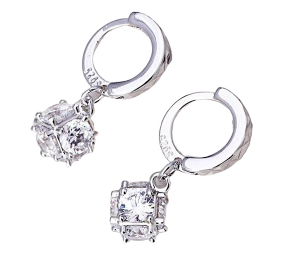 Sterling Silver Rose Gold CZ Stone Huggie Earrings