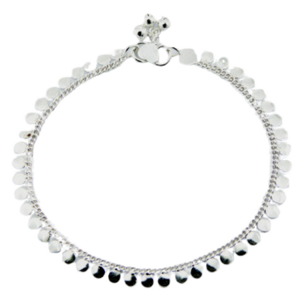 Sterling Silver Shiny Disc Anklet