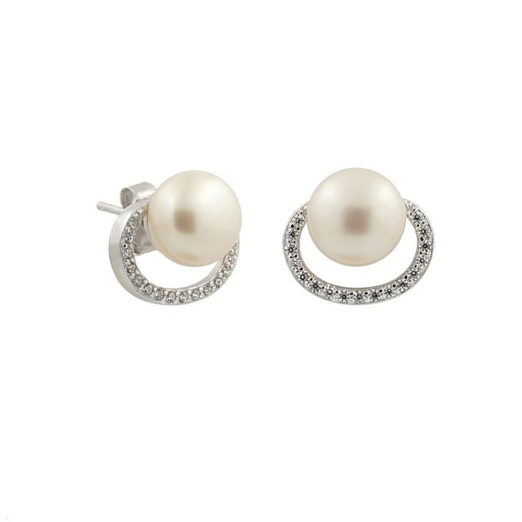 Sterling Silver Pearl Open Circle CZ Stud