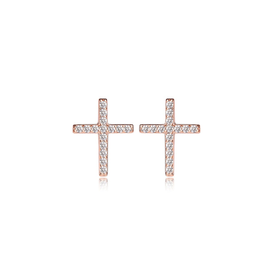 Sterling Silver Rose Gold CZ Cross Stud