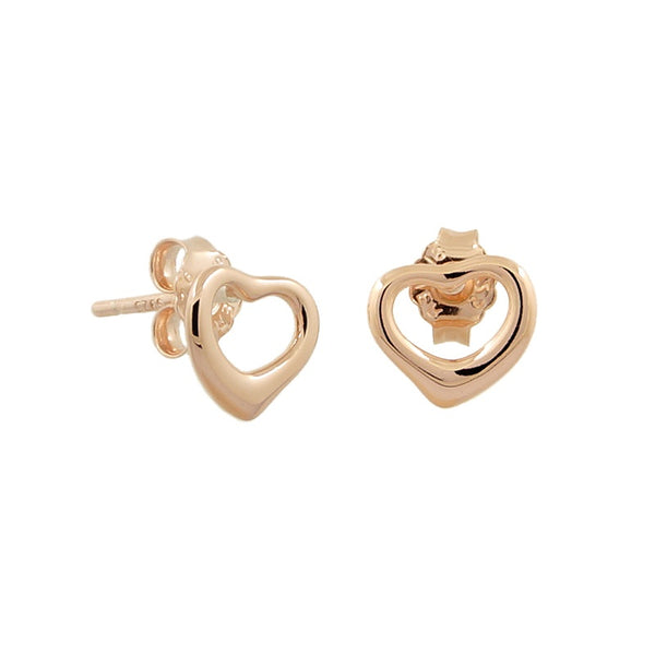 Sterling Silver Rose Gold Classic Open Heart Stud