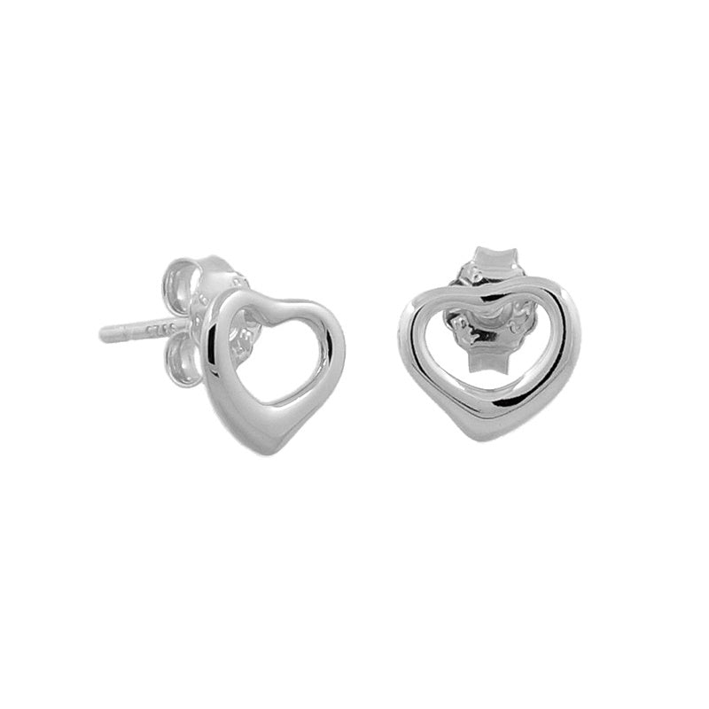 Sterling Silver Classic Open Heart Stud