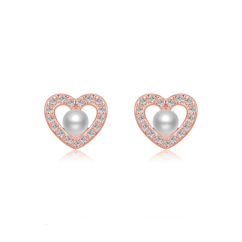 Sterling Silver Rose Gold Pearl CZ Heart Stud