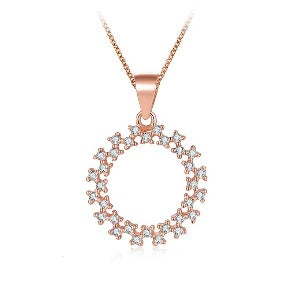 Sterling Silver Rose Gold Open Circle Sparkle