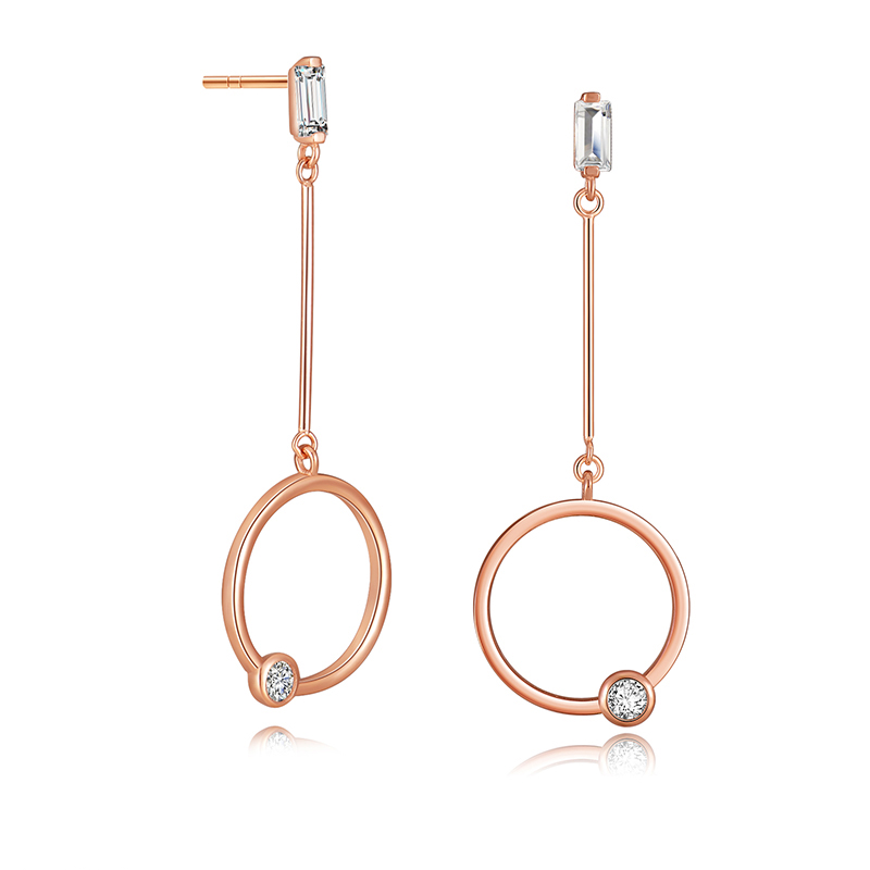 Rose Gold Sparkle Stud Drop Earrings