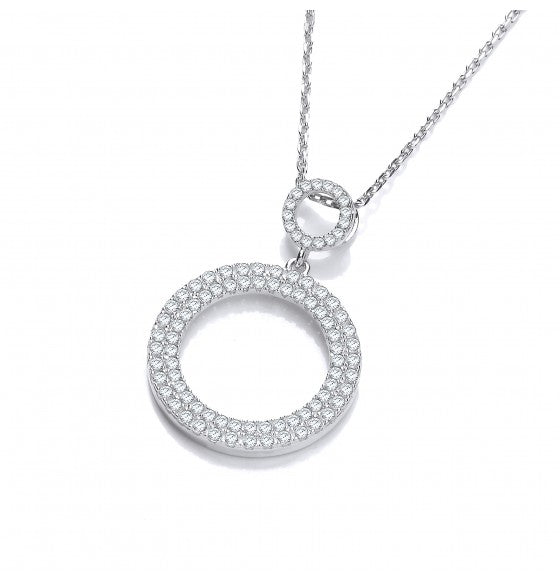 Sterling Silver Sparkle Circle Necklace