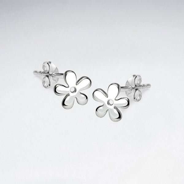 Sterling Silver Small Flower Silhouette Studs