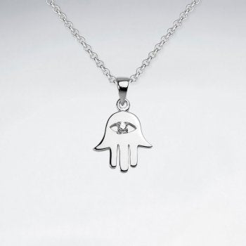 Sterling Silver Hamsa Hand with Evil Eye Necklace