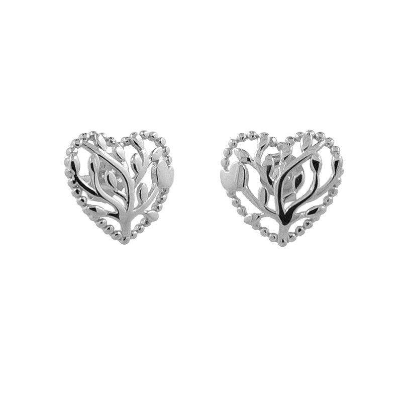 Sterling Silver Heart Tree of Life Studs
