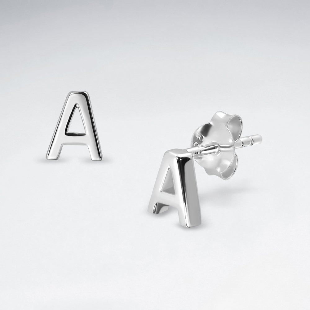 Sterling Silver Letter A Studs