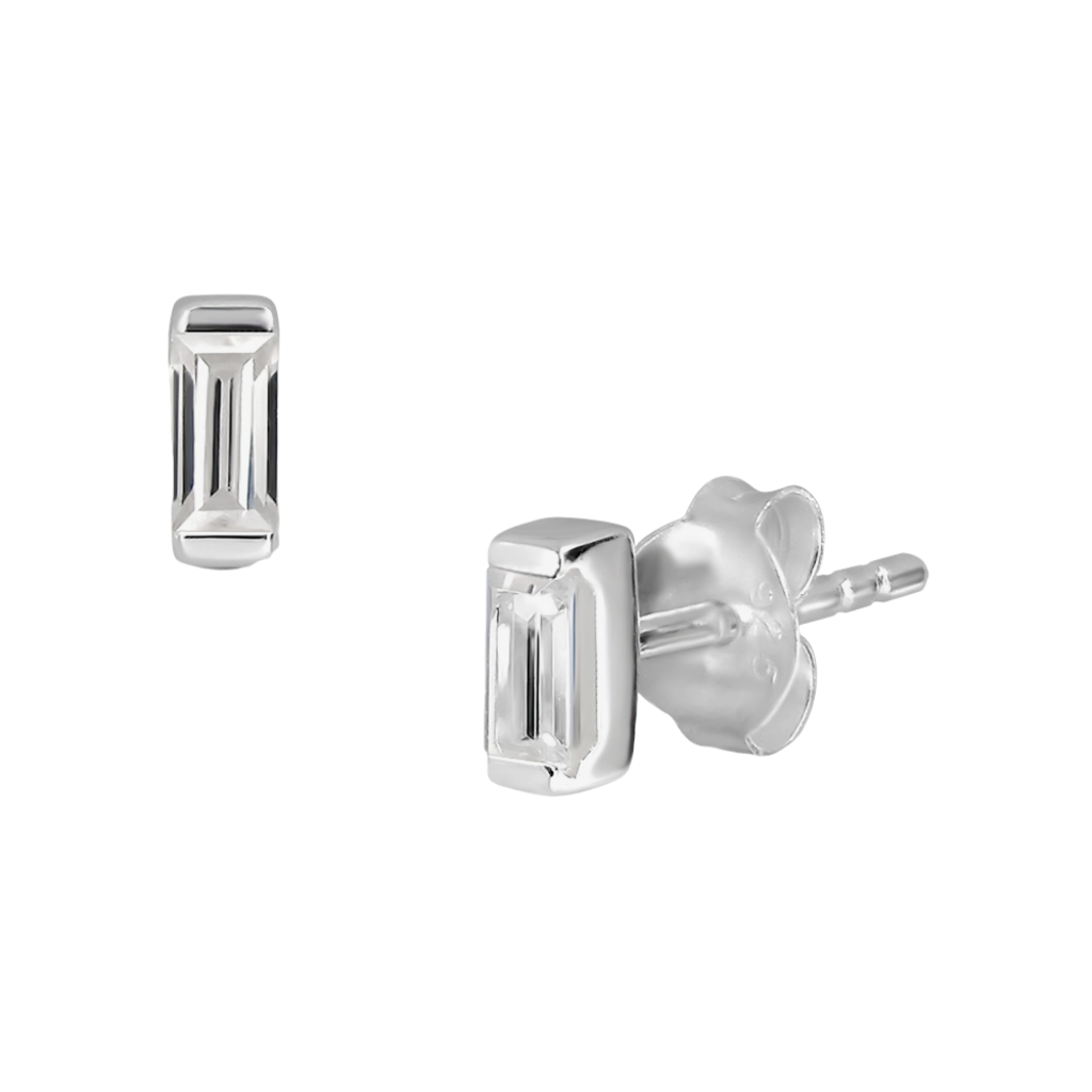 Sterling Silver Solitaire Rectangular Stud Earrings